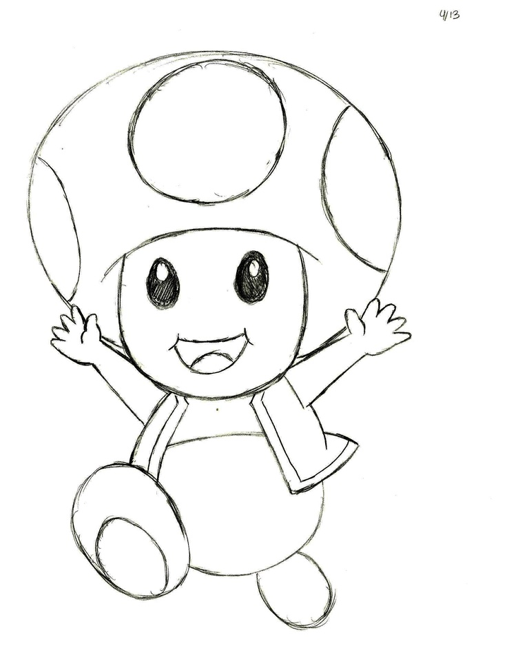 My Sketch Of Toad From The Nintendo Mario Video Games