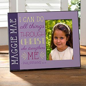 """This is BEAUTIFUL! """"I Can Do All Things Through Christ Who Strengthens Me"""" .. It's a personalized frame you can add ANY name to ... it comes in purple and an aqua design ... great gift for First Communion, Confirmation or even just religious retreats!"""