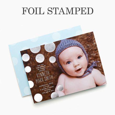 Brilliant Beginning - #Foil Stamped Boy Birth Announcement - Baumbirdy - Spa Blue #baby