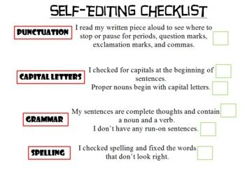 essay editing checklist middle school