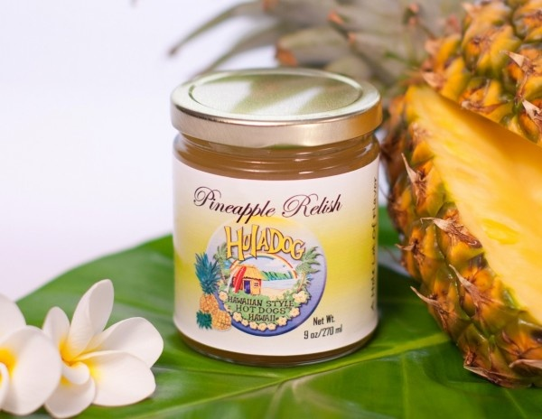 Hula Dog pineapple relish...if I had this I would eat hot dogs all day ...