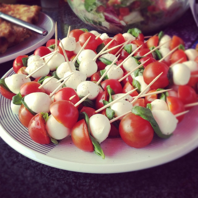 Tomato-basil-mozzarella skewers | Mike's 50th party | Pinterest