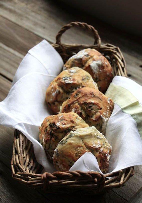 Crusty spinach feta and sun-dried tomato bread rolls.