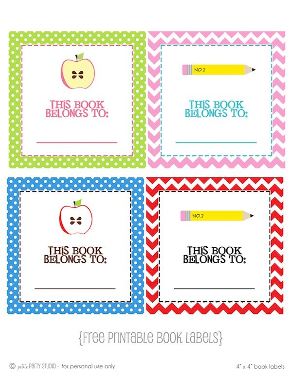 School Book Cover Stickers ~ Free printable book label school pinterest