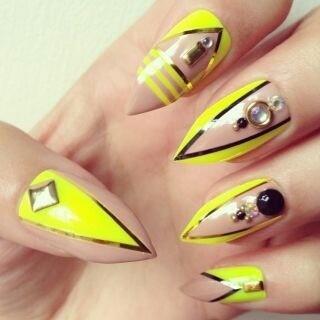 Cool neon yellow design | Nails, Nails, NAILS!! | Pinterest