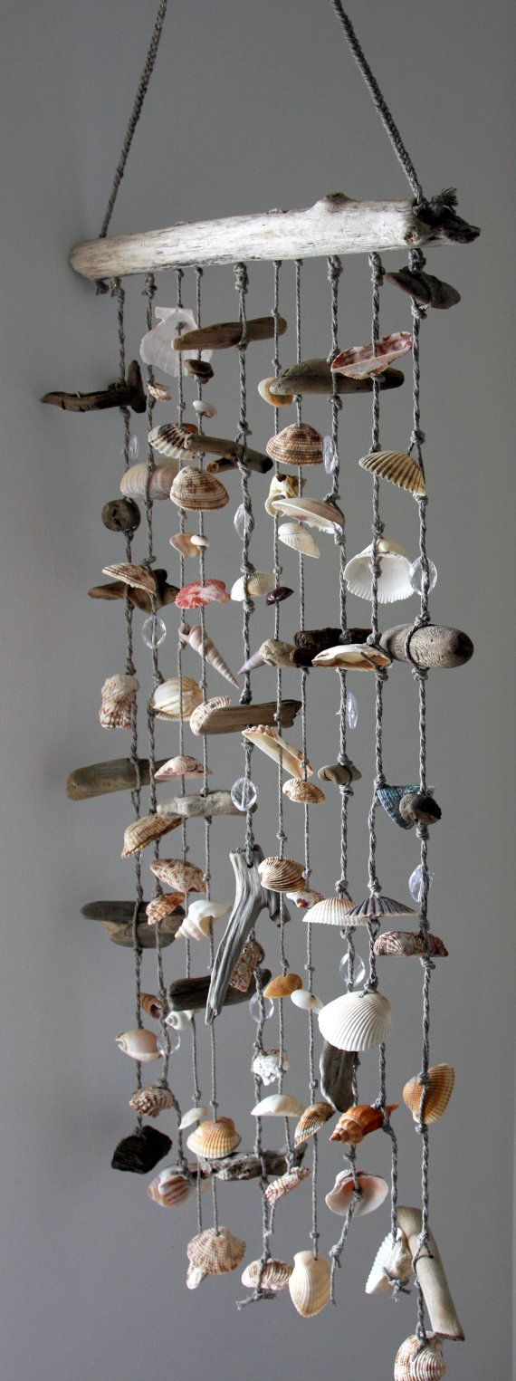 Extra large driftwood sea shell mobile beach wind chime for Shell wind chimes diy