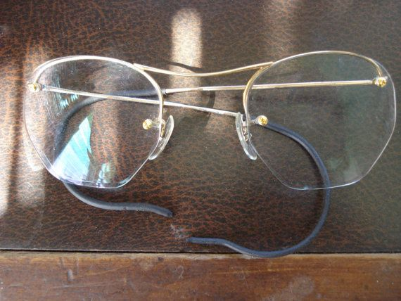 Rimless Eyeglass Frames With Cable Temples : Vintage 1930s Wire Rim Glasses Rimless Cable Temples 2013119