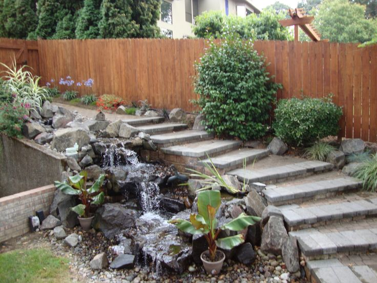 Home Water Fall Stairs : Water Feature Photos - Landscape Design & Construction Vancouver, WA