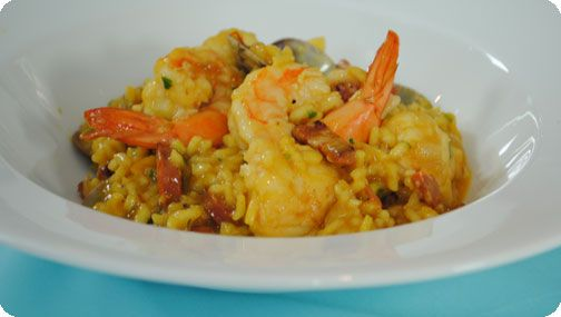 baked seafood and saffron risotto 416kcals and 9 7g fat per serving