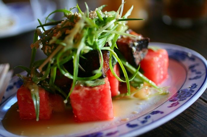 ... try this. Crispy pork belly and pickled watermelon at The Fatty Crab