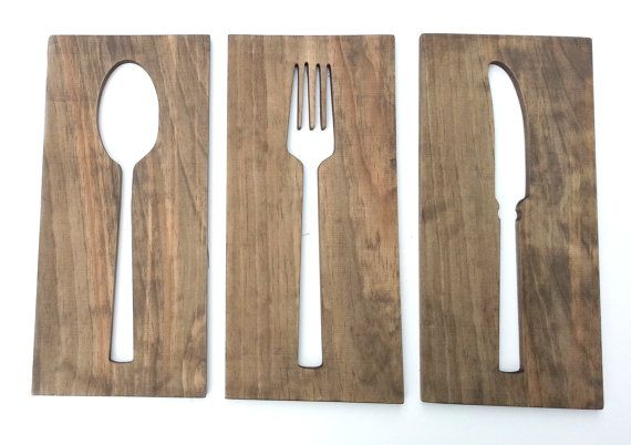 Wooden Kitchen Wall Decor : Kitchen art fork spoon knife wooden plaques wall decor