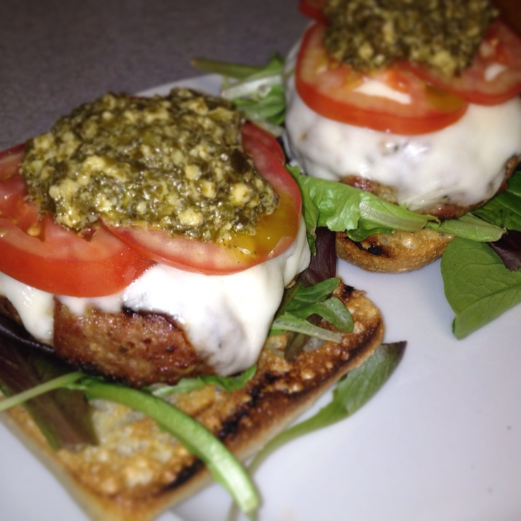 Open-Face Pesto Chicken Burger http://www.recipe.com/open-face-pesto ...