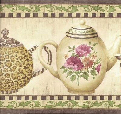 Kitchen wallpaper border rooster leopard tea pots wall for Purple kitchen wallpaper