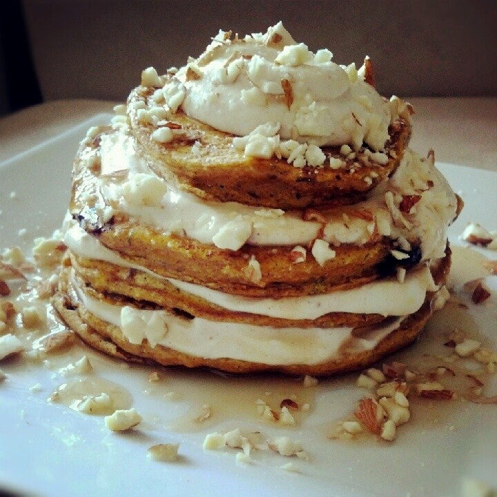 Pumpkin protein pancakes (made the topping only added almond butter ...