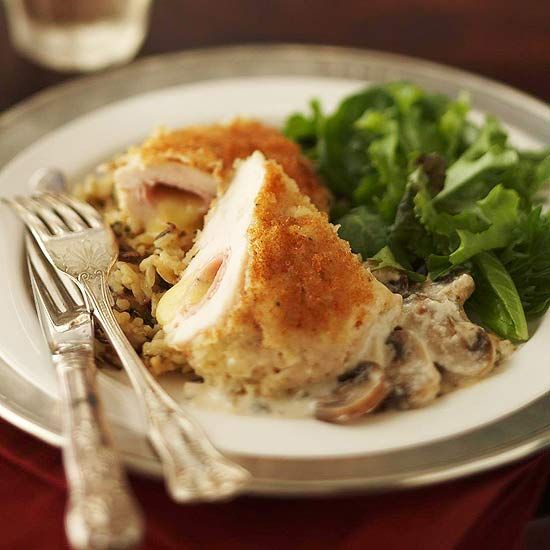 Baked Chicken Cordon Bleu-Chicken breasts are filled with thinly ...