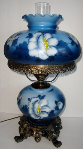 electric gone with the wind hurricane lamp hand painted floral design. Black Bedroom Furniture Sets. Home Design Ideas