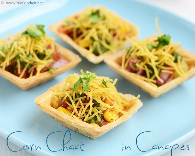Corn chat in canapes starter dishes pinterest for Canape filling ideas