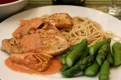 Chicken with Artichoke Hearts,Tomato Cream Sauce and Angel Hair ...