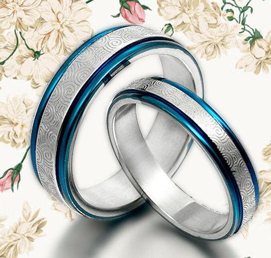 WEDDING RING Blue Wedding Titanium Rings Set by MymomentJewelry, 165 ...