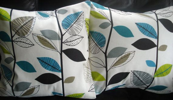 Throw pillow covers teal blue lime green gray grey leaf design cushio?