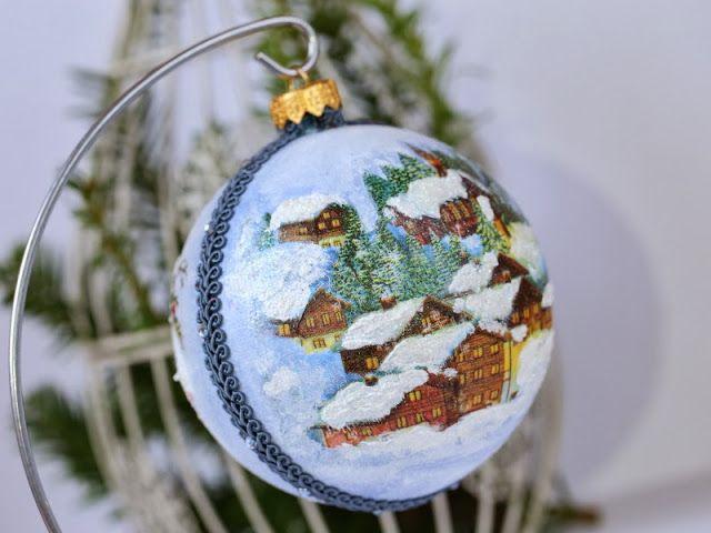 decoupage christmas ball, christmas decoration