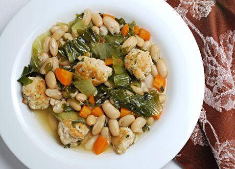 White Bean Escarole Soup with Turkey Meatballs, so ready for #fall ...
