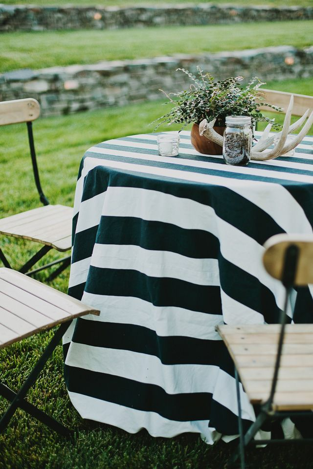 Bold black and white stripe tablecloth  Event Styling  Pinterest