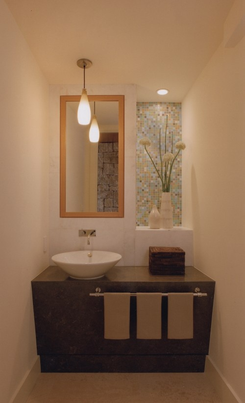 tiled wall niche in bathroom bathrooms powder rooms