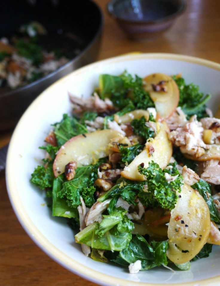 Kale and Apple Salad with Chicken, Feta, and Toasted Walnuts | Healthy ...