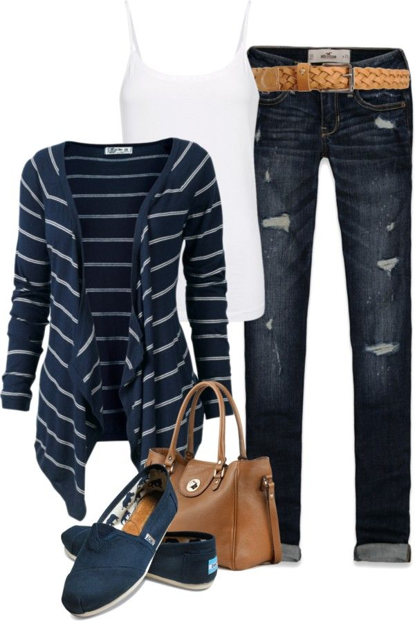 I love Navy Blue with white stripes!  I would pair up this look with a pair jeans, though, that don't have rips.