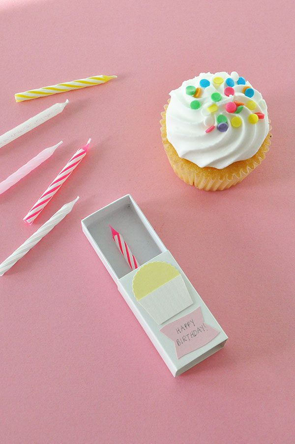 Matchbox Birthday Card. Serve with a cupcake.