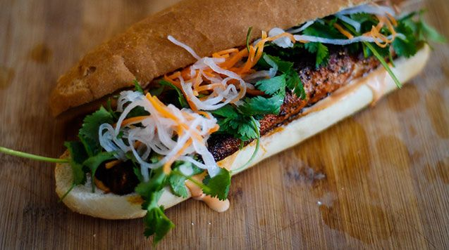 Salmon Banh Mi | WorldLifestyle.com | FOOD!!! | Pinterest