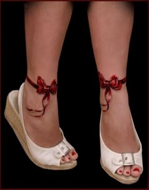 Cute realistic bow tattoos