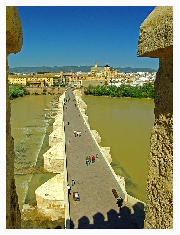 Puente romano desde la azotea de la Torre de la Calahorra. Al fondo la Mezquita de Córdoba, España