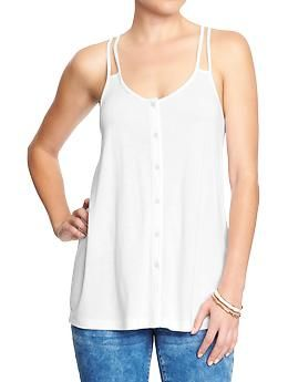 Women's Cut-Out Strap Button-Front Tanks | Old Navy