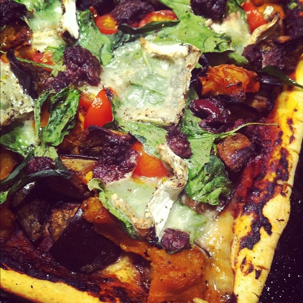 Blue goats cheese, roasted pumpkin & eggplant, thyme, olive tapenade ...