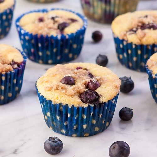 ... Fresh, hot Gluten-Free Blueberry Streusel Corn Muffins for breakfast