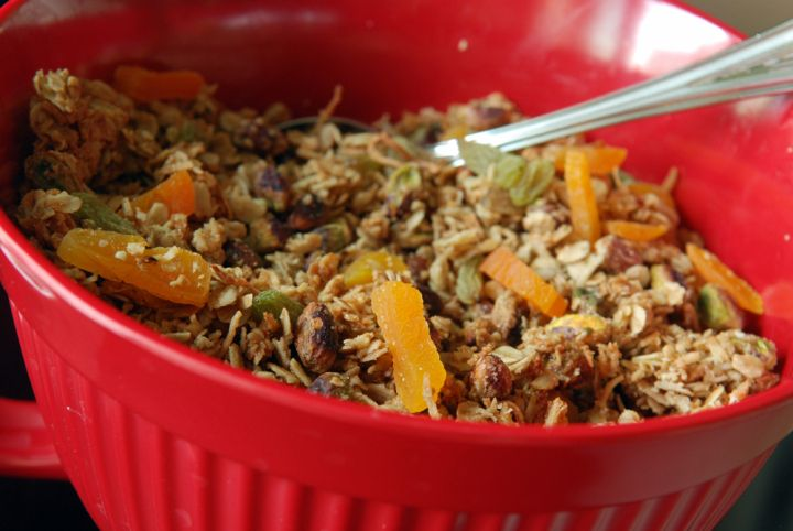 Olive Oil Granola With Dried Apricots and Pistachios