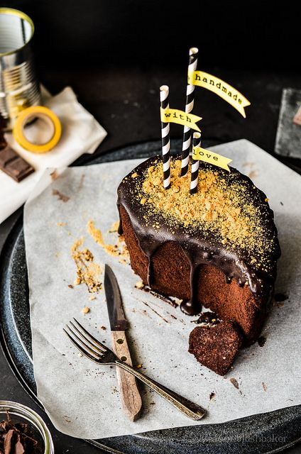 Glazed Chocolate Blueberry Cake with Cookie Crumb Crust | by ...