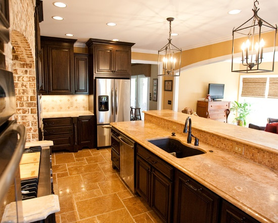Kitchen Travertine Floor Dark Cabinets Design, Pictures, Remodel