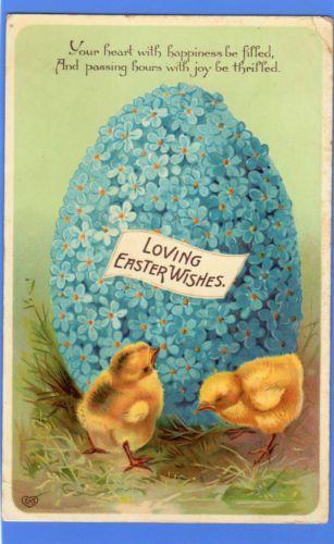 OLD VINTAGE 1912 POSTCARD GREETINGS EASTER EGG CHICKS FLOWERS