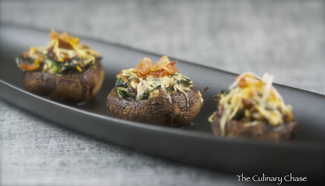 Spinach and Bacon Stuffed Mushrooms | Feed My Party | Pinterest
