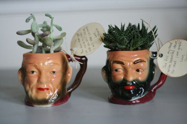 Primitive & Proper: Dare to DIY Give Handmade: Succulent Vintage Head Mugs, DIY Handmade Gifts for the Holidays, Mohawk Homescapes