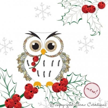 handmade Christmas Owl card-CL0607 £3.20  Christmas owls  Pinterest