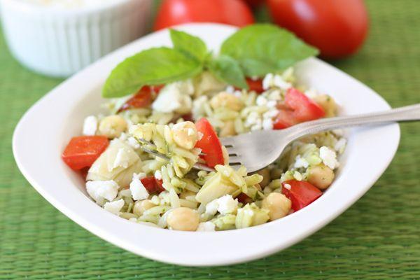 Orza Salad with Artichokes, Tomatoes, Chickpeas, Feta & Lemon Basil ...