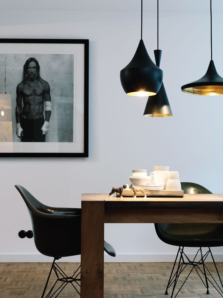 Tom dixon lamps & eames DAR chairs in black #diningroom