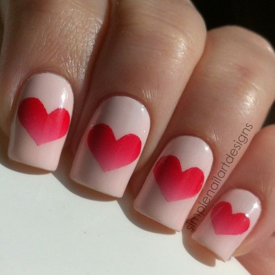 valentine gradient nails