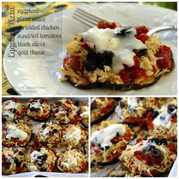 Eggplant Pizza Rounds - with chicken - or not if you are vegetarion ...