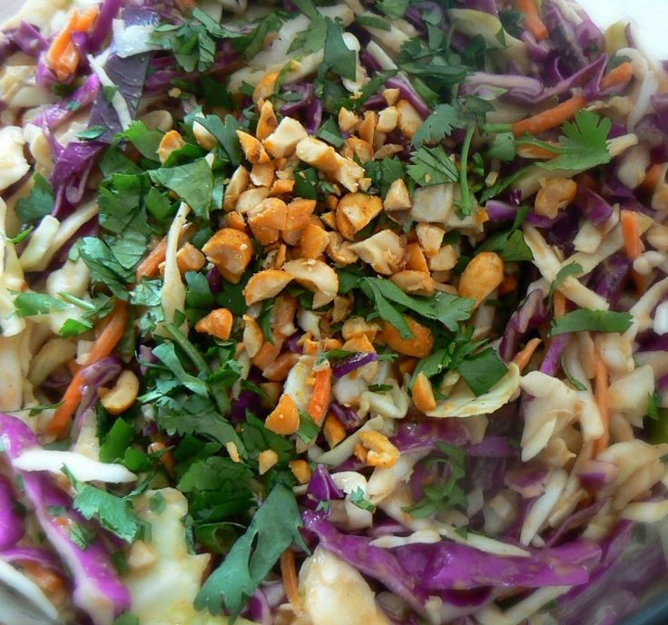 Asian Slaw with Ginger Peanut Dressing | Recipes | Pinterest