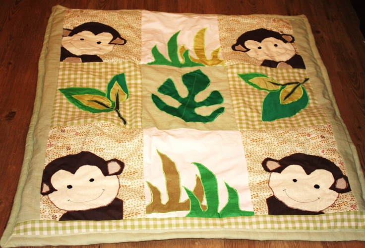 Baby Floor quilt, Baby Play Mat, Baby Patchwork Quilt, Cot Bed Quilt, Monkey Themed Baby Quilt. £45.00, via Etsy.